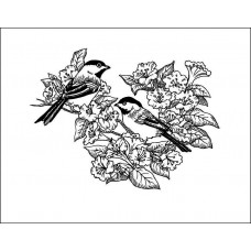 Птицы в саду 7,3 см х 5,5 см