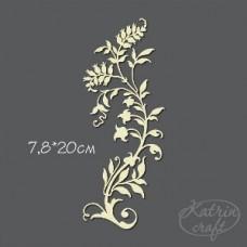 Чипборд Завиток травяной с ягодами большой Размер 7,8*20см