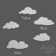 Чипборд Облака большие. 5 элементов. Размер 7-8см