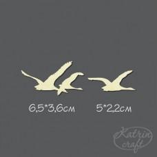 Чипборд Гуси-лебеди маленькие. Размер 6,5*3,6см и 5*2,2см
