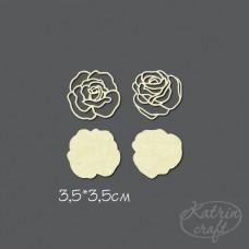 Чипборд Розы контурные. Размер 3,5*3,5см