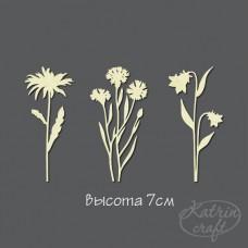 Чипборд Набор полевых цветов 3шт большой. Высота 7см