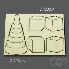 Чипборд Детский пирамидка мал. 5 элементов. Размер 5см и 2см