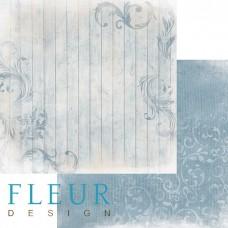 """Лист бумаги для скрапбукинга """"Изморозь на голубом"""", коллекция """"Шале"""", 30х30, плотность 190 г. Флер"""