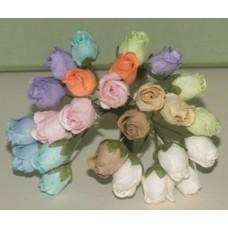 Цветы. Бутоны роз микс пастель. 1см , длина стебля 9см (5шт)