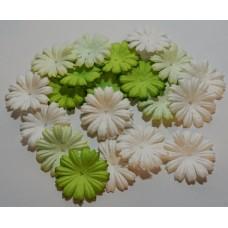 Цветы. Маргаритки.  Микс зеленый, диаметр 2,5 см. Набор 10шт