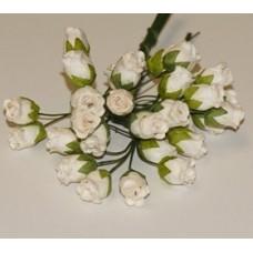Бутоны роз (белые). 1см , длина стебля 9см (5шт)