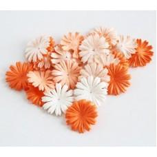 Цветы. Маргаритки.  Микс оранжевый, диаметр 2,5 см. Набор 10шт