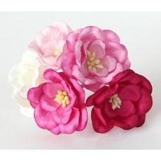 Магнолия розовый микс, размер цветка 35 мм (5шт разного цвета)