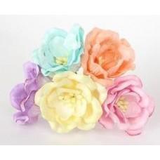 Магнолия микс-пастель, размер цветка 35 мм (5шт разного цвета)