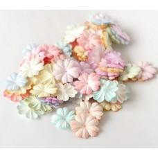 Цветы.  Микс пастель, с округлыми лепестками, диаметр 2,5 см. Набор 10шт