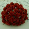 Розы красные - 2см, длина стебля 5см (5шт)