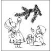 """Штамп """"Дети возле ёлки"""".Размер 4,1 см х 4,3 см."""