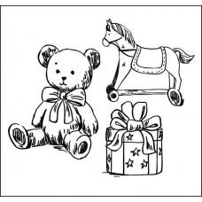 """Штамп  """"Подарки""""( в наборе 3 штампа). Размеры: мишка 2,8см х 3,4см, лошадка- 2,7см х 2,6 см, подарок- 1,8см х 2,2см"""