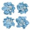 Цветы кудрявой фиалки, набор 2 шт- диам 5см, 2 шт - диам 4,2 см, небесно-голубые