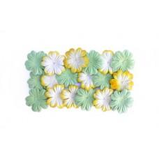Набор цветков из шелковичной бумаги, 2 цвета 20 шт 28мм,  светло-зеленый, желтый