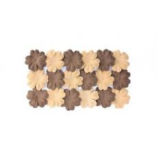Набор цветков из шелковичной бумаги, 2 цвета 20 шт 28мм/ Коричневый- песочный