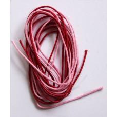 Вощеный шнур розовый и красный, 1м, 1мм