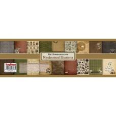Набор бумаги 30,5х30,5 см 190 гр/м, Механические Иллюзии, 9 листов (двустор)