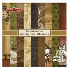 Набор бумаги  15х15 см 190 гр/м, Механические Иллюзии, 12 листов