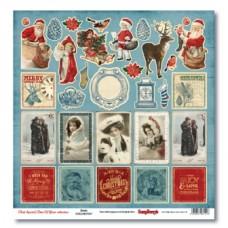 Лист бумаги 30,5х30,5 см  С Рождеством! Карточки.